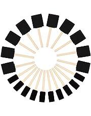 Kurtzy Schuimen Verf Kwasten (20pak) - Twee Maten – Houten Handvat Spons kwasten Set – Verf Gereedschap Voor Acryl, Olie, Stain- en Waterverf – Kunst en Hobby Materiaal Voor Volwassenen en Kinderen