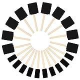 Kurtzy Brocha de Esponja para Pintar (Pack de 20) - Dos Tamaños - Set Pincel Espuma Mango de Madera – Herramienta Pintar Acrílico, Oleo, Tinte y Acuarela - Esponja Pintura Manualidad Adultos y Niños