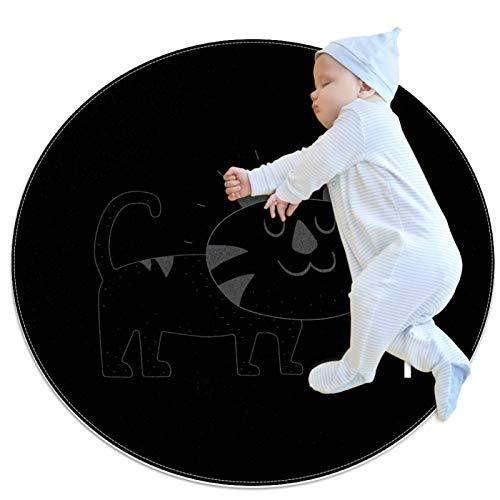 Indimization Gato Animal Blanco Alfombra Redonda Alfombra Redonda decoración Arte Antideslizante niños Lavables a máquin Suave Sala Estar Dormitorio de Juegos para 70x70cm