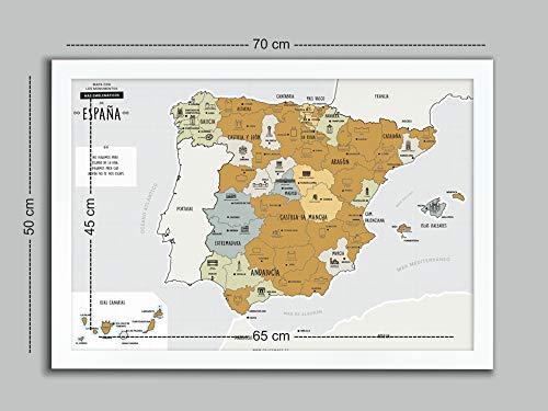 Desconocido Mapa DE ESPAÑA para RASCAR + Marco Blanco (EN ESPAÑOL)