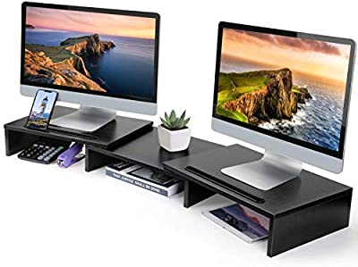 LORYERGO Dual Monitor Stand Riser - Adjustable Length and Angle Computer Monitor Stand, 3 Shelf Desktop Storage Organizer Riser for PC, Computer, Laptop, Multifunctional Slot for Tablet, Pen & Phone