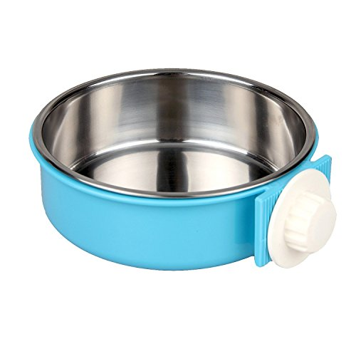 AEMIAO 2 IN 1 Pet Hanging Bowl Stainless Steel Pet Bowls Removable Dog Bowl for Crates & Cages Puppy Feeder Dog Water Bowl with Bolt Holder for Small Medium Dog (L)