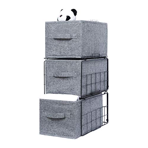 X-cosrack Stackable Storage Bins with Shelves,Foldable Closet Organizer Shelf Cube Box with Handles,Drawable Clothes Storage Organizer for...