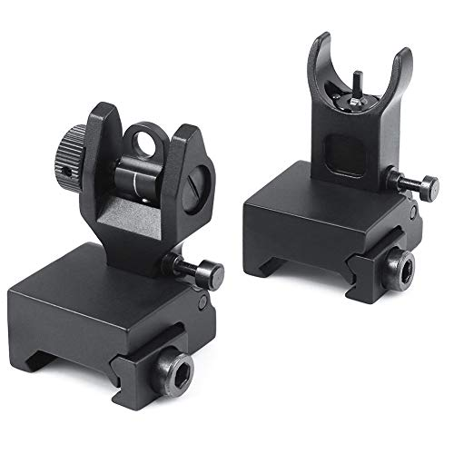 Feyachi Flip Up Rear Front and Iron Sights Best Backup fits Picatinny & Weaver Rails Black