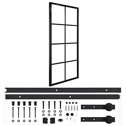 Qnotici Puerta corredera de Aluminio y Cristal ESG con herrajes. Sistema de Puerta corredera. Paredes divisorias, Puertas Interiores 76x205 cm