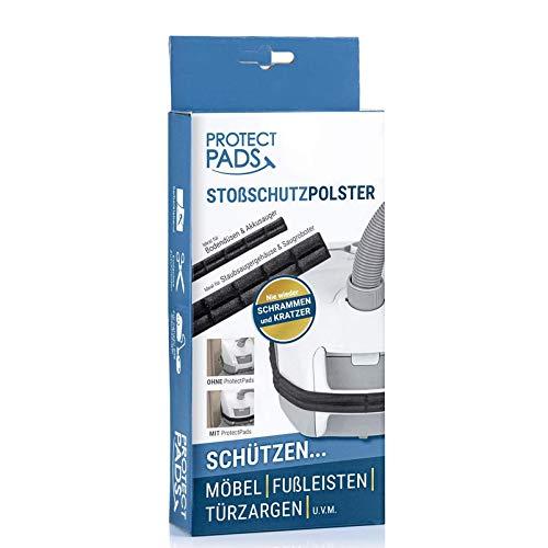 [1er-Set] Protect Pads Staubsauger-Stoßschutzpolster + Bonus Handseife von Kalff | Schützt Möbel, Wände und Türen vor Schrammen und Kratzern, für nahezu alle Staubsauger | Selbstklebend …