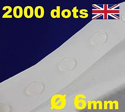Glue Dots Klebepunkte, transparent, zur Kartengestaltung, Scrapbooking, wiederablösbar, 6mm, 2.000 Stück, Glu Dots starke Haftung