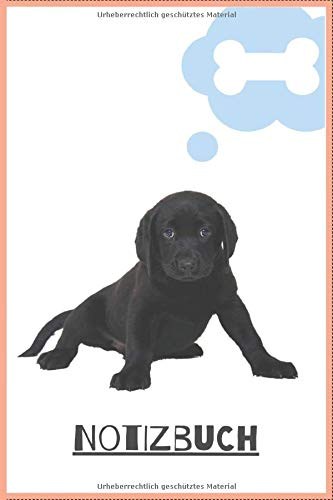 Notizbuch Labrador Welpe: Notizbuch mit 120 Seiten / kariert / DIN A5 (6x9) / Hundemotiv #21