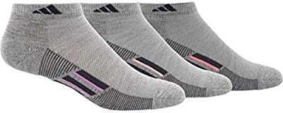 adidas Women's Superlite Stripe Low Cut Socks (3-Pair), Light Grey Heather/Onix/Bliss Orchid Light Flash O, Medium, (Shoe Size 5-10)