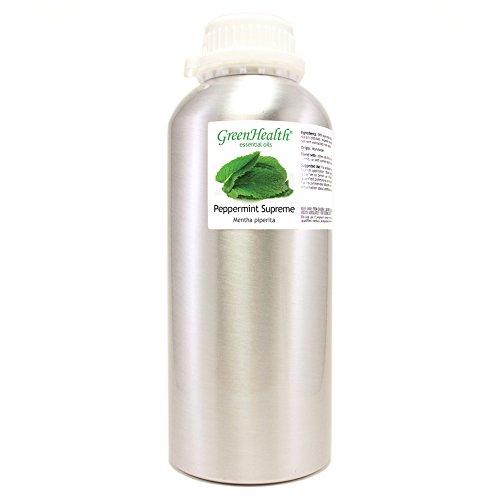 Peppermint (Mentha Piperita) Oil – 32 fl oz (946 ml) Aluminum Bottle w/Plug Cap – 100% Pure Essential Oil – GreenHealth