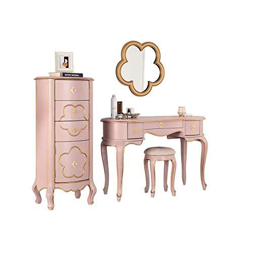 H-ei Vanity Table Set Americano Dresser con Specchio a Forma di Fiore e Make-up Stool, 3 cassetti, Mobili Camera da Letto, Toilette 90/120 Centimetri (Color : Pink, Size : Locker+Table Set)