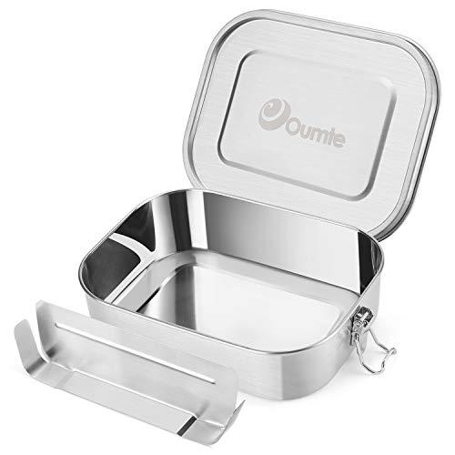 OUMTE Lunchbox Edelstahl Brotdose mit Trennwand Abtrennung Auslaufsicher Bento-Box einfach zu reinigen für Kinder Erwachsene 1400ml