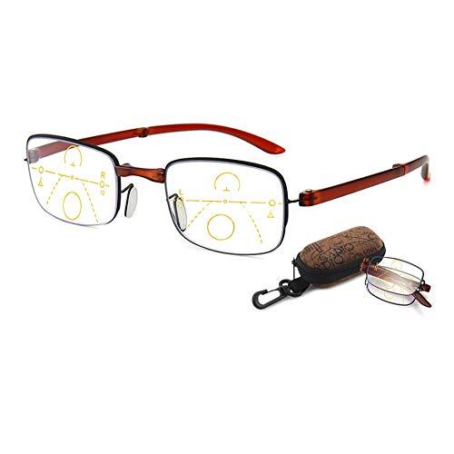 VEVESMUNDO Anti Blaulicht Lesebrillen Faltbar Klappbar Gleitsichtbrille Computer Blaulichtfilter Multifokal Sehhilfe Lesehilfe Kompakte Brillen 1.0 1.5 2.0 2.5 3.0 3.5 (1 Stück Braun, 1.5)