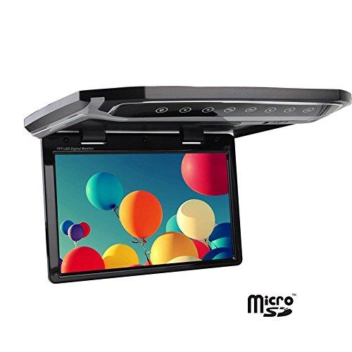 HD 1280 * 768 r¨¦Solution ¨¦Cran LCD de 12,1 Pouces inch Flip Toit Mount Monitor avec Buit-in T¨¦l¨¦Commande sans Fil 1080P entr¨¦e de Surveillance Automatique de Voiture Overhead 2 vid¨¦o