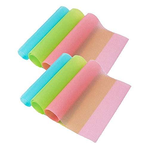 Alfombrillas para frigorífico, 6 unidades, color rosa, 2 verde, 2 azules