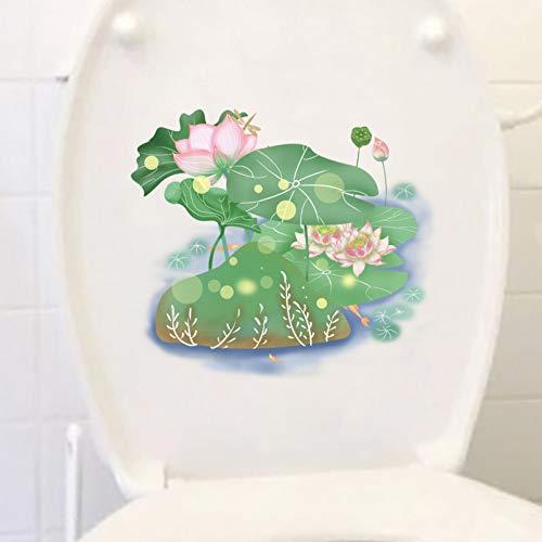 ZPZZPY Muursticker 22X19.2Cm Bloeiende Lotus Klassieke kunst Woonkamer Muurstickers Fotobehang Creatief Toilet Wc Decor