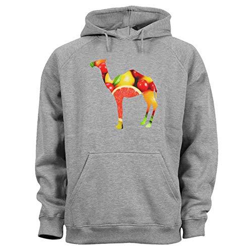TeezoneDesign, sudadera con capucha para hombre, colorido, diseño de frutas camello Gris gris XL