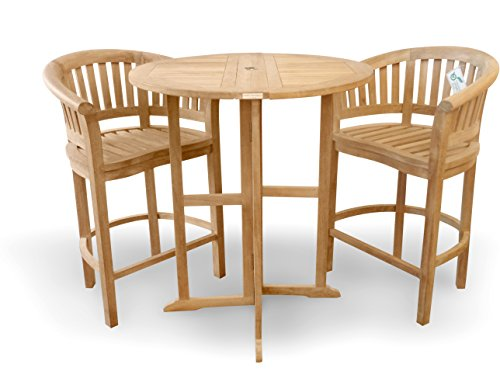 """Windsor's Genuine Grade A Teak 39"""" Round Dropleaf Counter Table w/2 Kensington Curved Arm Counter Chairs, Counter Height 5"""" Lower Then bar .5 Year Wrty, World's Best Outdoor Furniture! Assembled"""