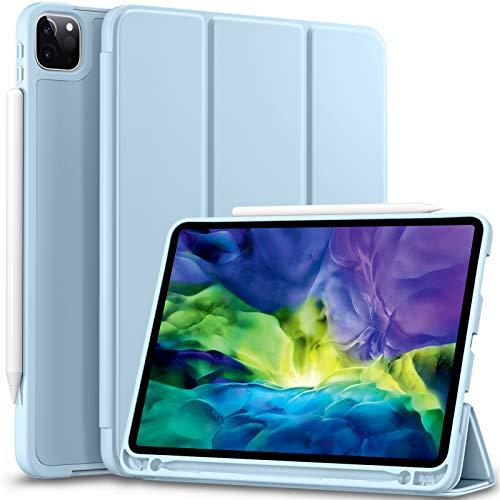 Vobafe Hülle Kompatibel mit iPad Pro 11 2020 und 2018, TPU Schutzhülle mit Stifthalter für iPad Pro 11 Zoll 2020, Unterstützen Sie Pencil der 2. Generation, Auto Wake/Sleep, Voller Schutz, Hell Blau