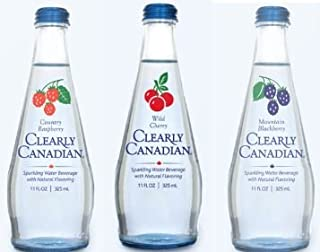 Clearly Canadian Sparkling Flavored Water (6 Pack, including 2 of each) Country Raspberry, Wild Cherry, Mountain Blackberry)