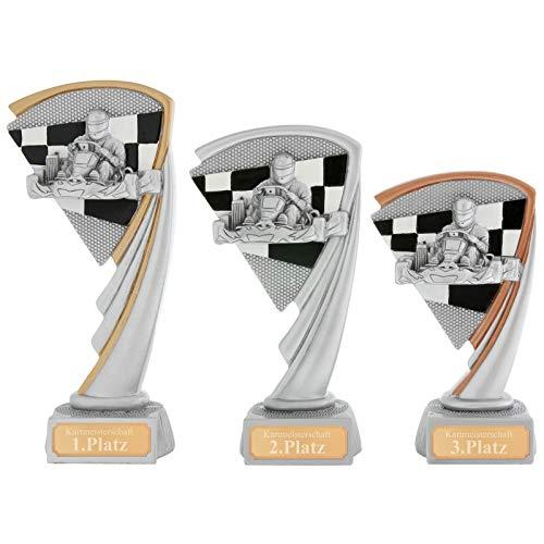 Pokalset je 1x Bronze,Silber, Gold Kart Pokal Serie Arras 3 Größen Hart PVC schwer mit Gravur