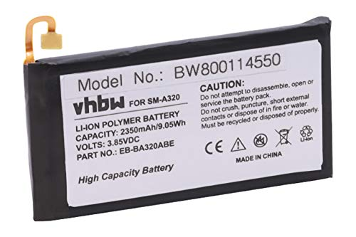vhbw Li-Polymer Akku 2350mAh (3.85V) passend für Handy Smartphone Handy Samsung Galaxy SGH-N417, SM-A320, SM-A320F, SM-A320F/DS, SM-A320FL, SM-A320Y