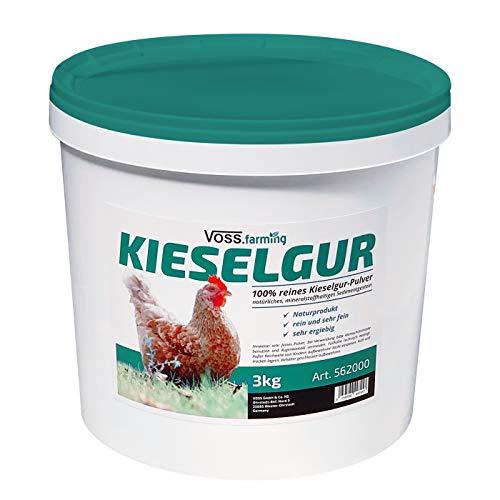 VOSS.farming 100% reines Kieselgur-Pulver, natürliches mineralstoffhaltiges Sedimentgestein, 3kg Eimer Kieselgur-Eimer fein ergiebig