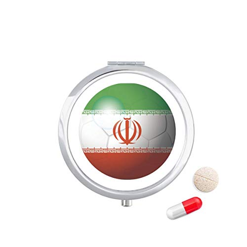 DIYthinker Iran Nationale Vlag Voetbal Voetbal Reizen Pocket Pill Case Medicine Drug Opbergdoos Dispenser Spiegel Gift