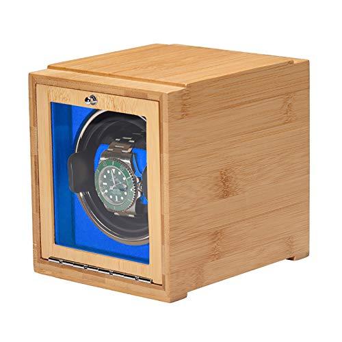 Reloj Winders - Bamboo Watch Shaker Single Watch Winder Watch Mecánica Reloj de bobinado automático Caja de almacenamiento de relojes de doble potencia con puerta Batería disponible ( Color : Blue )