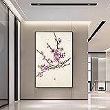 Lunderliny Arte De Pared De Flor De Melocotón Impresión Nórdica Rosa Póster Artístico De Moda Pintura En Lienzo De Primavera Decoración China para Sala De Estar Decoración del Hogar 40x60cm
