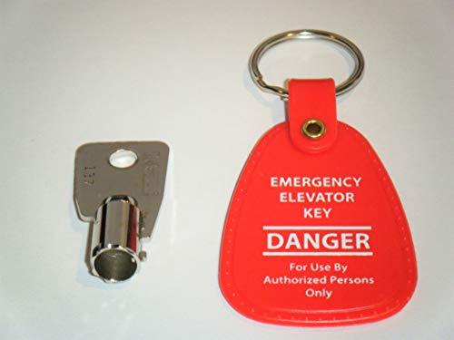 Elevator Fire Service Key FEO-K1 KONE K1 with Emergency Elevator Key Tag for Easy Identification RED Key TAG