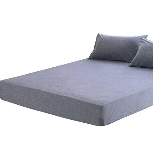 ボックスシーツ クイーン オーガニックコットン マチ30㎝ 洗いざらしの綿100% ベッドシーツ BOXシーツ 防ダニ ブルー
