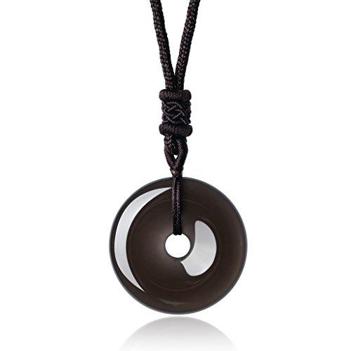 COAI Collar Ajustable con Colgante Buñuelo/Ping'An Kou de Obsidiana