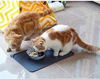 YFOX Tapis en silicone étanche pour chat et chien,tapis de protection antidérapant pour animaux de compagnie avec lèvres de protection du sol,lavable,pliable,48,5 x 30 cm (noir)