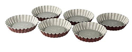 Dr. Oetker Torteletts Ø 10 cm, 6er Set, kleine Backformen für süße Küchlein, ausgezeichnete Wärmeleitung, zweifarbige Optik, (Farbe: grau/rot), Menge: 1 x 6er Set