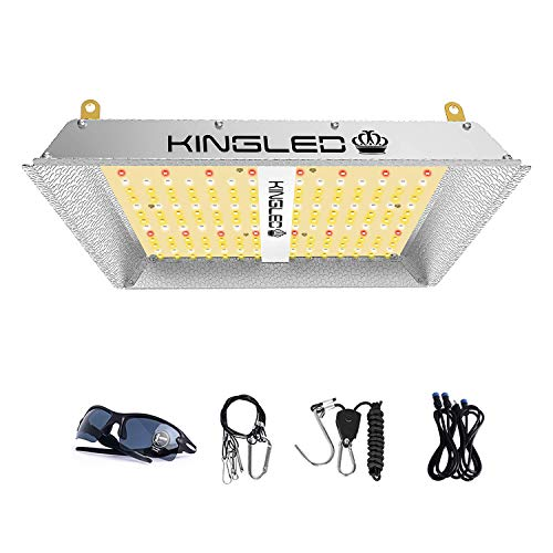 KingLED UL600 LED Grow Light 2x2ft Coverage Full Spectrum Grow Lights for Indoor Plants Veg and Bloom Greenhouse Plant Light for Seed Starting with IR LEDs Four for 4x4ft Footprint