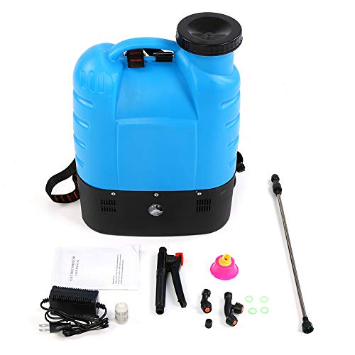 Aramox Battery Powered Backpack Sprayer, 4 Gallon High Pressure Sprayer Gardening Tool with 2 Nozzle for Lawns and Gardens,Blue
