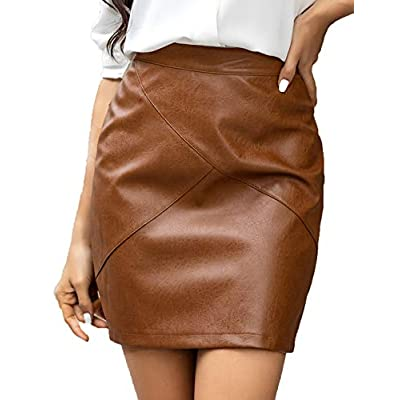 brown leather skirts for women