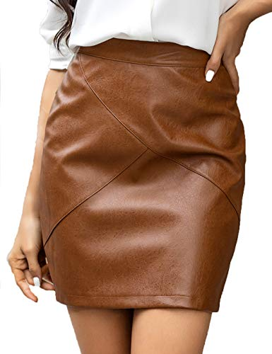 Zeagoo Women Basic Versatile Faux Leather Bodycon High Waisted Pencil Skirts Camel L
