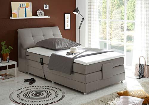 *Froschkönig24 Concord 120×200 cm Boxspringbett Bett mit Motor Silber*