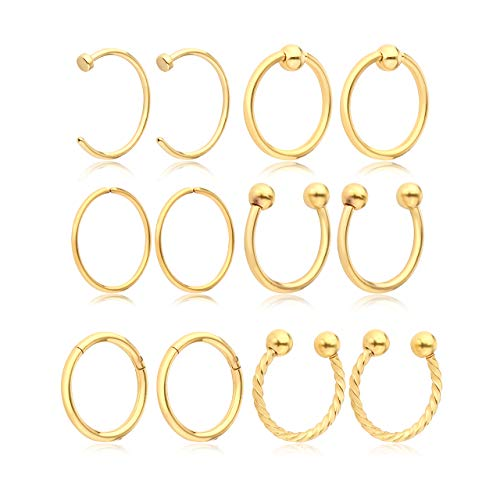 JSDDE Piercing,12x Edelstahl 0.8mm Körperpiercing Stud Barbell für Zunge Nase Lippe Augenbrauen Helix Tragus Knorpel Ring Piercing Set (Gold)