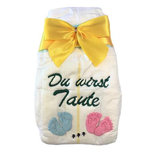 Du wirst Tante - Geschenk zur Ankündigung - Tanjo White bestickte Windel mit Schleife