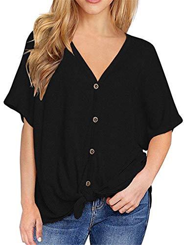 Damen Casual Lose Bluse für Kurzarm T-Shirt mit V-Ausschnitt Button Down T-Shirts Krawatte Vordere Knoten Tops (Schwarz, M)
