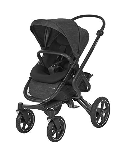Maxi-Cosi Nova 4-Rad Kombi-Kinderwagen, automatisch klappbar, nutzbar ab der Geburt mit Babyschale oder Babywanne Oria bis circa 3,5 Jahre, komfortabel für Stadt und Land, nomad black