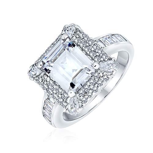 Bling Jewelry 4Ct Zirkonia Rechteck Smaragd Geschnitten Halo AAA Cz Verlobungsring Für Frauen Sterling Silber Pflaster Band Versprechen Ring