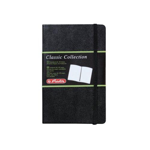 Herlitz 10789451 Geschäftsbuch in Lederoptik, schwarz, blanko, A6, 96 Blatt, Inhaltspapier 80g/m² Notizbuch Classic Collection