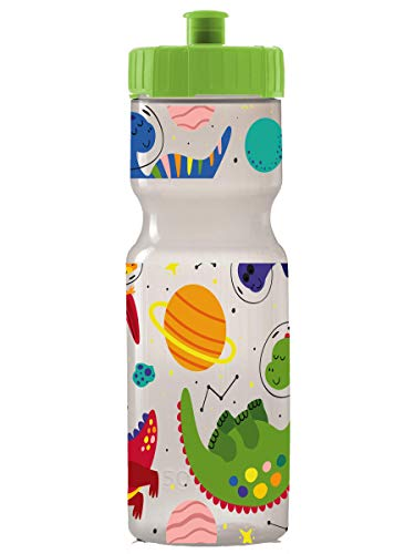 Kids Sports Squeeze Water Bottle - 22 oz. BPA Free Sport Bottle W/ Easy Open Push/Pull Cap - Durable Bottles Perfect for Boys & Girls, School & Sports - Made in USA (Space Dinosaurs)