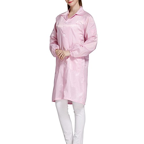Calunce Button Up Lapel CollarESD/Anti Static Overalls Coat Lab Coat (3XL, pink)