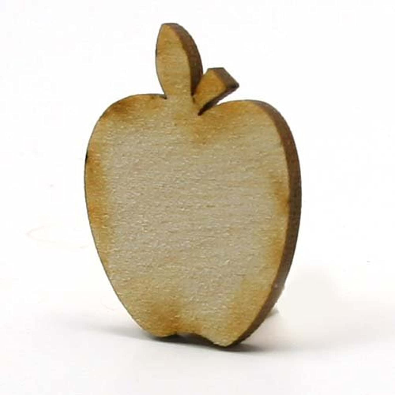 Mylittlewoodshop Pkg of 25 - Apple - 2 inches tall by 1.6 inches wide and 1/8 inch thick unfinished wood (LC-APPL04-26)