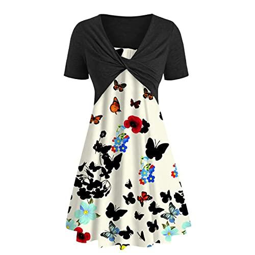 pamkyaemi Sommerkleider Damen Knielang Zweiteiliger Anzug Kurzarm Kleid Sexy V-Ausschnitt Blusenkleid Strandkleid Damen Elegant Casual Mädchen Kleider Abendkleider Freizeitkleider